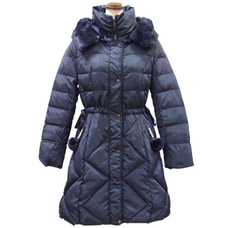 ファー&ポンポン使い暖かダウンコート(ネイビー)