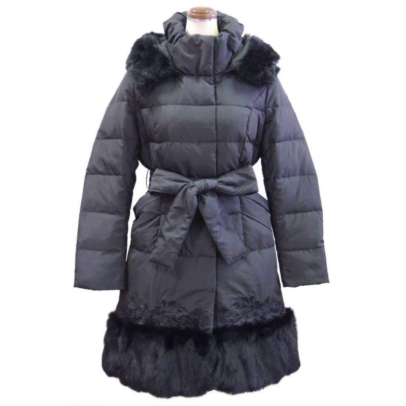 ファー&刺繍使い暖かダウンコート(ブラック)