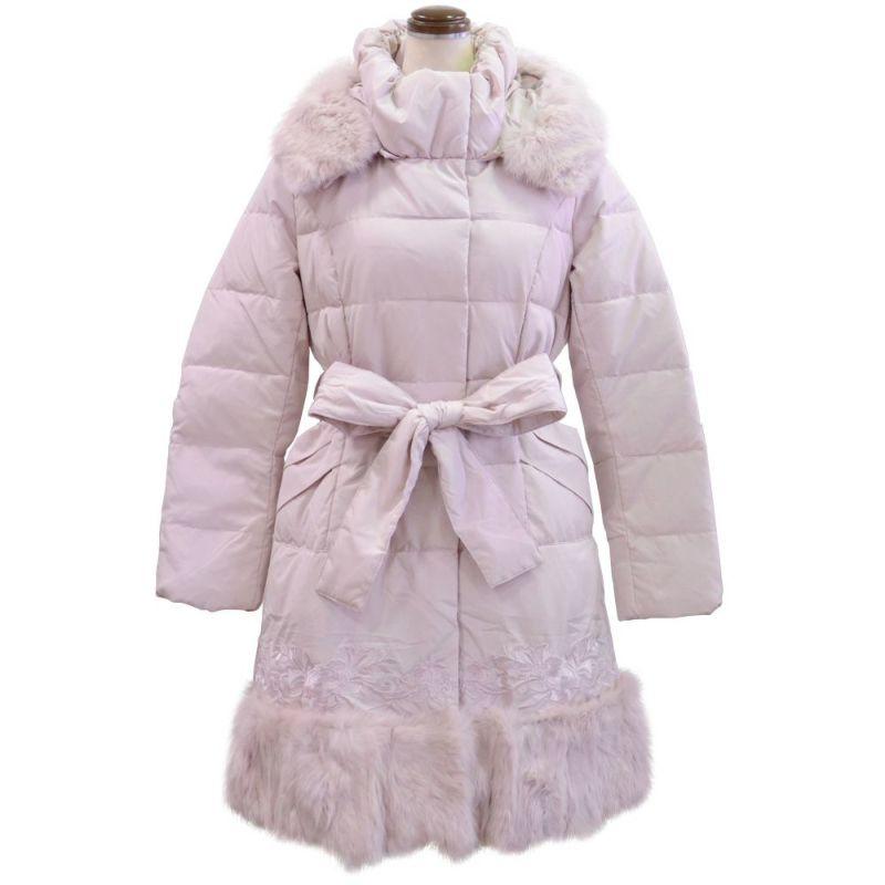 ファー&刺繍使い暖かダウンコート(ピンク)