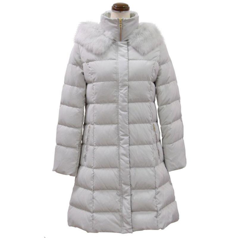 ファー&ゴールドファスナー使い暖かダウンコート(グレー)