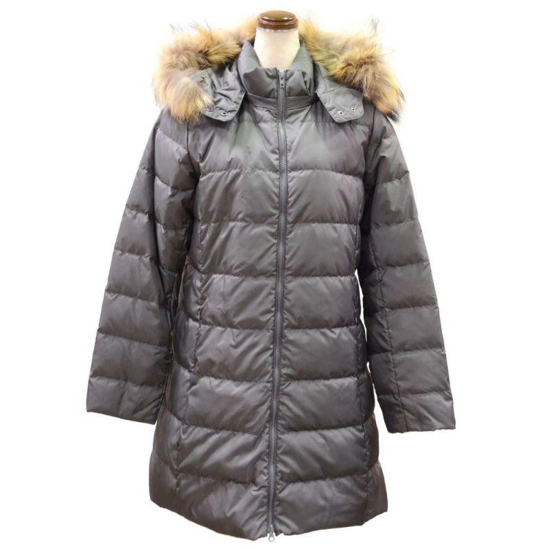 ラクーンファー使い暖かロングダウンコート(グレー)
