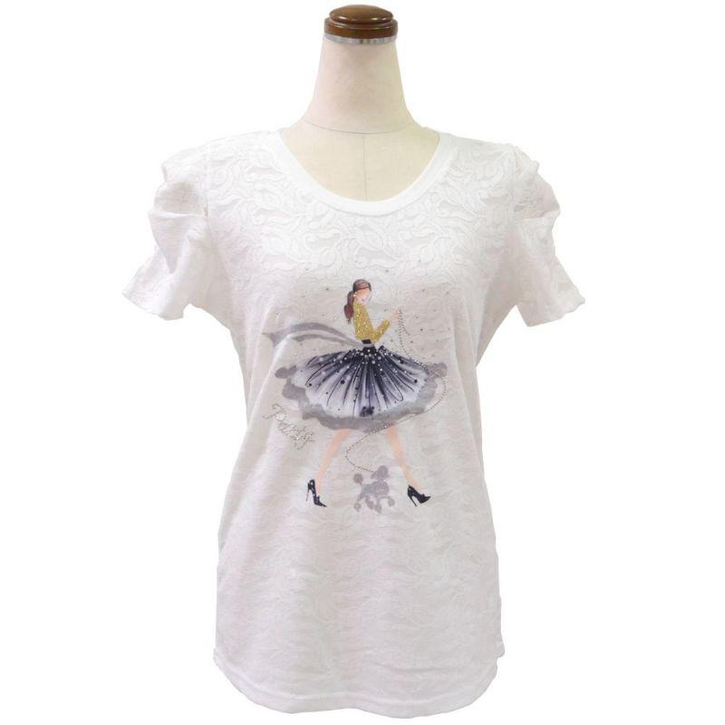 レース地ビジュー使いデコレーションTシャツ(ホワイト) プードルの散歩Party